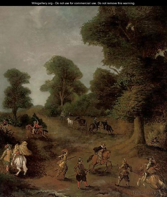A wooded landscape with travellers under siege - (after) Jan Wyck