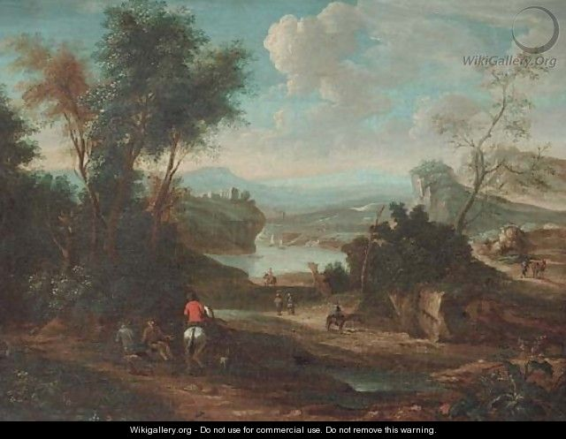A landscape with horsemen and other travellers on a track - (after) Jan Wyck