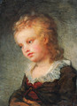 Portrait of a Boy, bust-length, in a brown coat with lace collar - (after) Fragonard, Jean-Honore