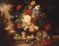 A Vase Of Mixed Flowers On A Ledge - (after) Of Jean-Baptiste Monnoyer