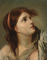 Portrait of a young lady - head and shoulders - (after) Greuze, Jean Baptiste