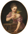 A girl with a canary and an open cage - (after) Greuze, Jean Baptiste