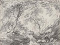 A woodland landscape with a waterfall - (after) Constable, John