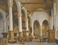 Figures in a church interior - (after) Johannes Bosboom