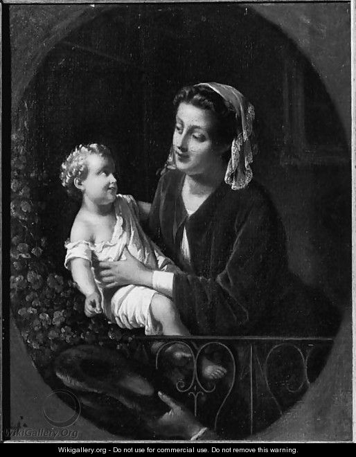 A mother and child on a balcony - (after) Johann Friedrich August Tischbein