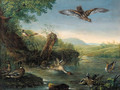 An eagle in flight watching ducks by a pool - (after) Johann Elias Ridinger Or Riedinger