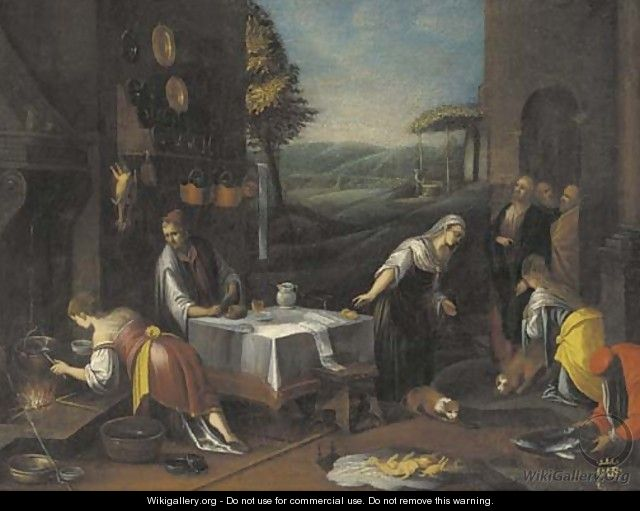 Christ in the house of Martha and Mary - (after) Jacopo Bassano (Jacopo Da Ponte)