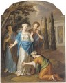 Classical figures before a temple to Diana - (after) Jacopo (Giacomo) Amigoni