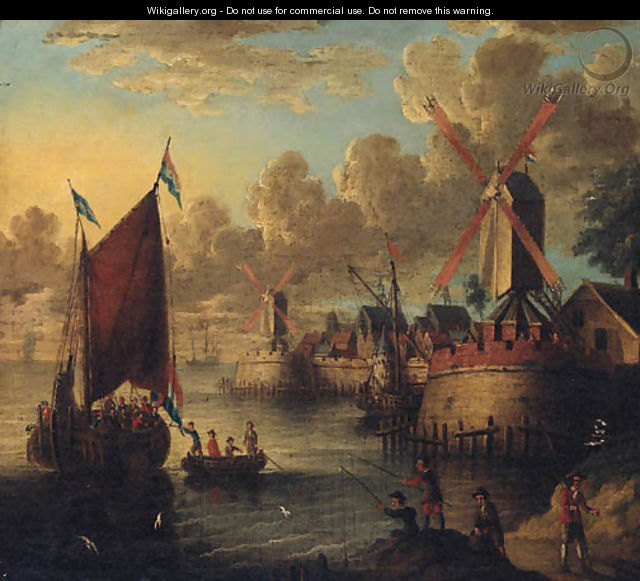 Figures boarding a smalschip in a port with fishermen on the shore - (after) Jacobus Storck