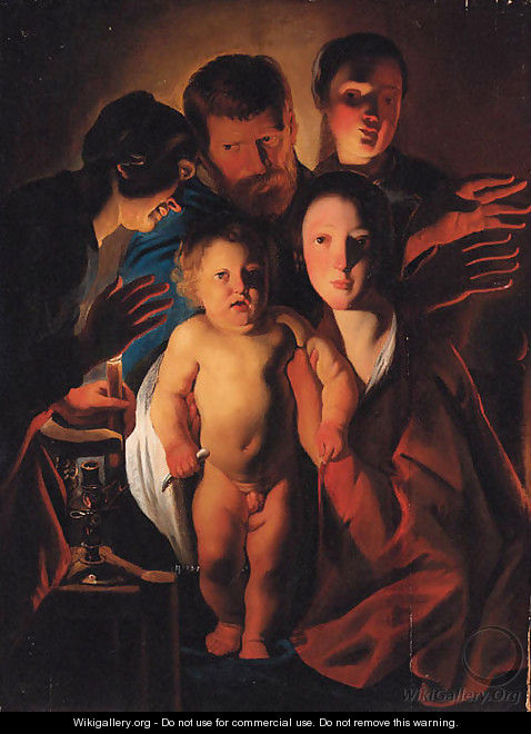 The Holy Family by candlelight - (after) Jacob Jordaens