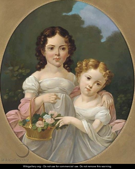Portrait of two girls - (after) James George O