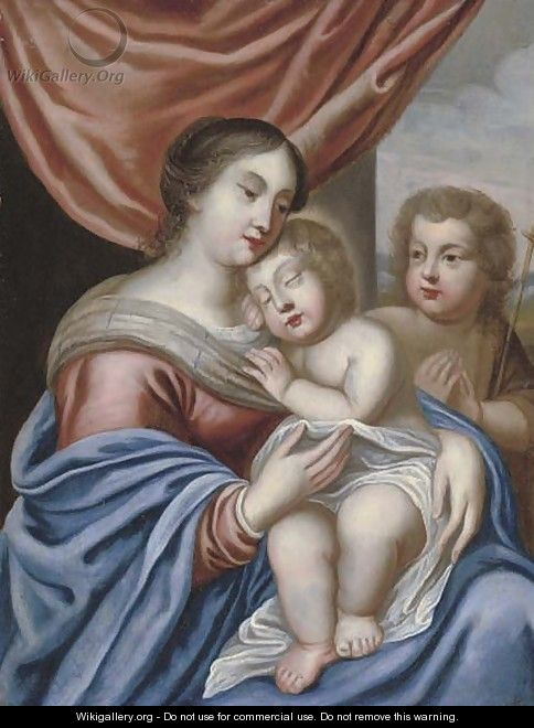 The Virgin and Child with the Infant Saint John the Baptist - (after) Jacques Stella