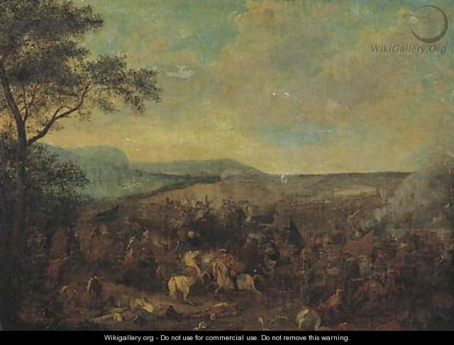 A cavalry skirmish between Christians and Turks in an extensive landscape - (after) Jacques (Le Bourguignon) Courtois