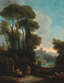 An Italianate landscape with figures resting by a fountain - (after) Jan Frans Van Orizzonte (see Bloemen)