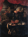 Grapes, vines, peaches and a fob-watch on a jewelry box - (after) Jan Davidsz. De Heem