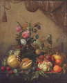 Grapes, melons, plums, peaches, oranges, cherries, a pumpkin, a glass of wine and a vase of flowers - (after) Jan Davidsz. De Heem