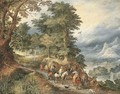 A mountainous landscape with travellers on a path - (after) Jan The Elder Brueghel
