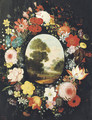 A wreath of roses, tulips, jasmine and other flowers surrounding an oval depicting a landscape - (after) Jan, The Younger Brueghel