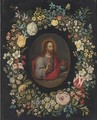 Salvator Mundi, in a floral cartouche - (after) Jan, The Younger Brueghel