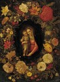 The Virgin and Child set in a feigned cartouche of carnations, tulips, daffodils and other flowers - (after) Jan-Erasmus Quellinus