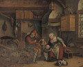 An old couple spinning wool in an interior, a child nearby - (after) Jan-Anton Garemyn
