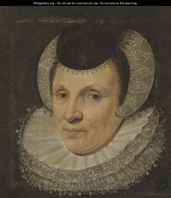 Portrait of a lady, bust-length, in a lace head-dress - (after) Anthony Van Ravesteyn