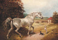 A grey with two dogs in a wooded landscape - (after) James Ward
