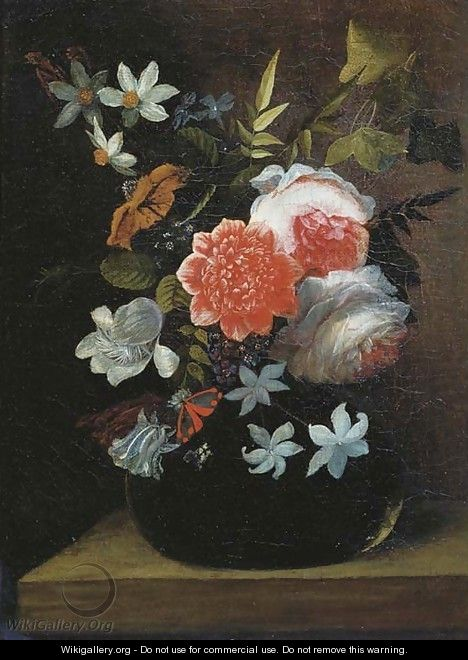 Roses, lilies, tulips and other flowers in a glass vase with a butterfly on a wooden ledge - (after) Jan Philip Van Thielen