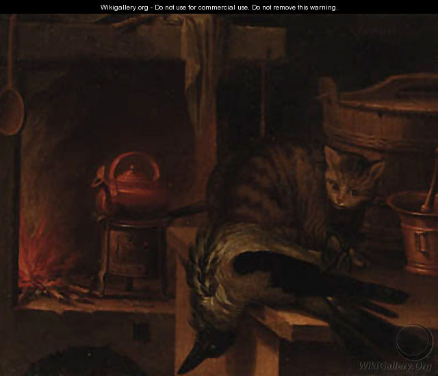 A kitchen still life with a cat and a magpie - (after) Jan Fyt