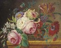 Roses, tulips and other flowers in a basket on a ledge - (after) Jan Frans Van Dael