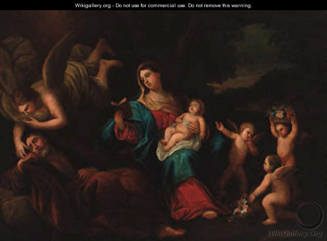 The Holy Family with an angel and putti in a landscape - (after) Guido Reni