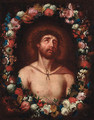 Christ crowned with thorns within a floral surround - (after) Guido Reni