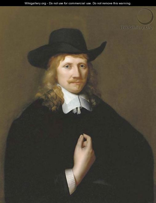 Portrait of a man, half-length, in a black costume - (after) Govert Teunisz. Flinck