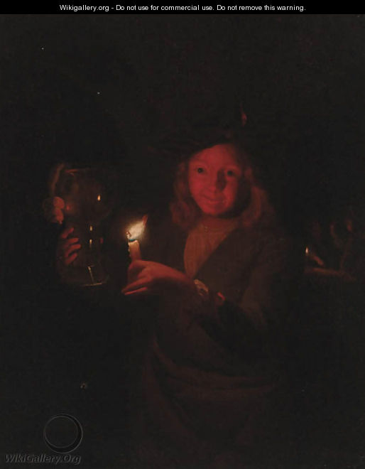 A boy holding a roemer by candlelight - (after) Godfried Schalcken