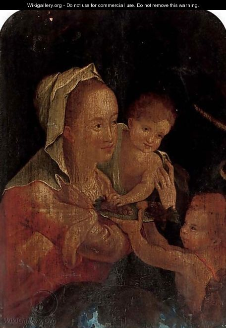 The Virgin and Child with the Infant Saint John the Baptist - (after) Hans Von Aachen
