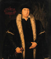 Portrait of a Gentleman, small three-quarter-length, in a black ermine- lined mantle, holding gloves in his right hand - (after) Holbein the Younger, Hans