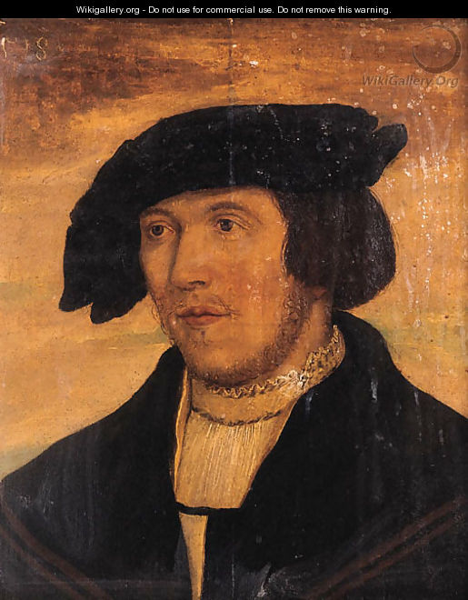 Portrait of a young bearded man, small bust length, wearing a black coat with lace chemise and black hat - (after) Holbein the Younger, Hans