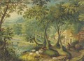 A wooded landscape with a shepherd and sheep on a track with figures before cottages beyond - (after) Hans Bol