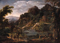 Sportsmen on a track near a waterfall, a castle beyond, in an Italianate landscape - (after) Hendrik Frans Van Lint (Studio Lo)