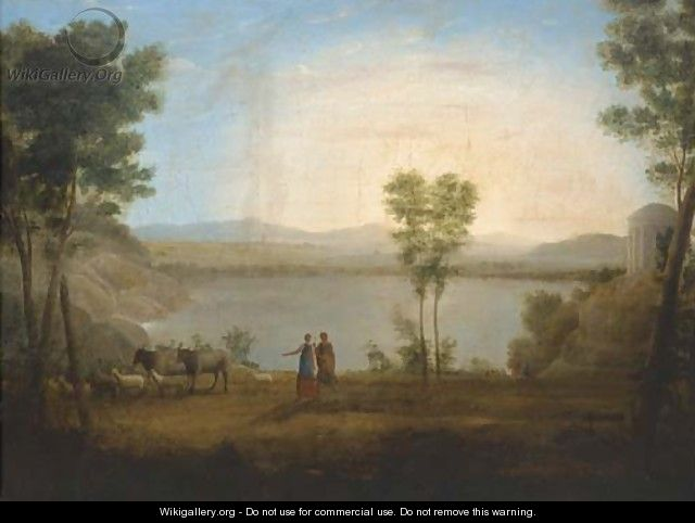 A classical landscape with a shepherd and shepherdess by a lake - (after) Hendrik Frans Van Lint (Studio Lo)