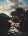 A Scandinavian landscape with a waterfall - (follower of) Ruisdael, Jacob I. van