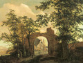 Travellers by the gate of a ruined country mansion - (after) Jacob Van Ruisdael