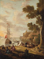 A Mediterranean Coastline with Travellers on the Shore, a Man-o'-War beyond - (after) Jacob De Heusch