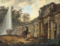 Figures conversing before a capriccio of classical ruins - (after) Hubert Robert