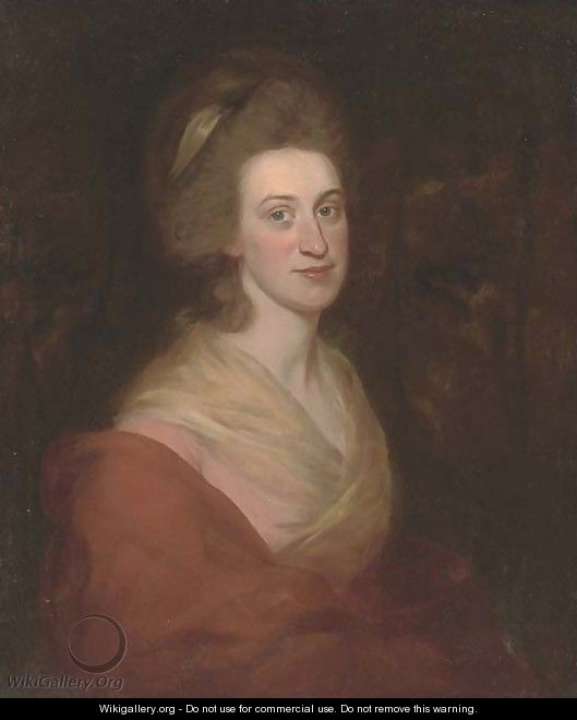 Portrait of a lady, half-length, in a pink dress and orange wrap - (after) Romney, George
