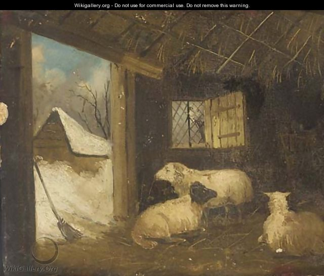 Sheep in a stable in winter - (after) George Morland