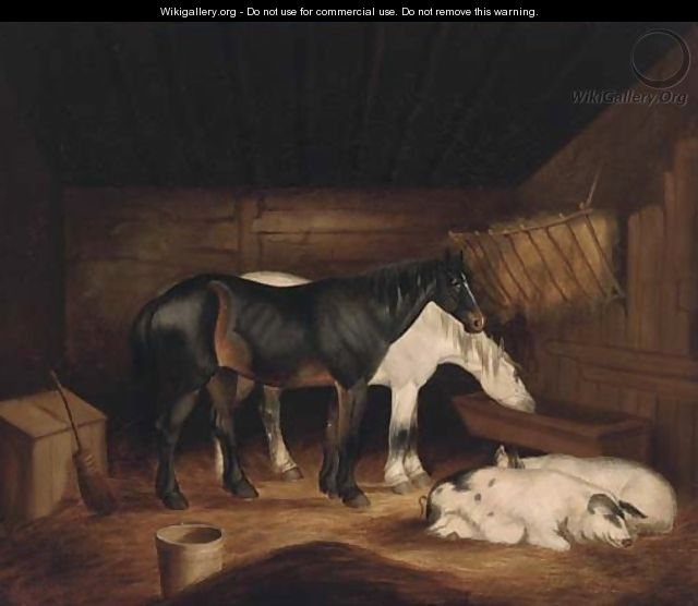 Horses and pigs in a stable - (after) George Morland