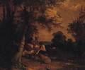 Figures with Cattle and Sheep in a wooded Landscape - (after) George Morland