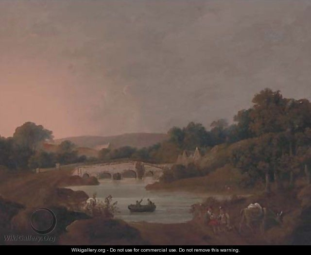 Figures with a donkey resting by a river - (after) George Arnald