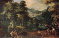 A tiger hunt in a forest, a valley beyond - (after) Gillis Van Coninxloo